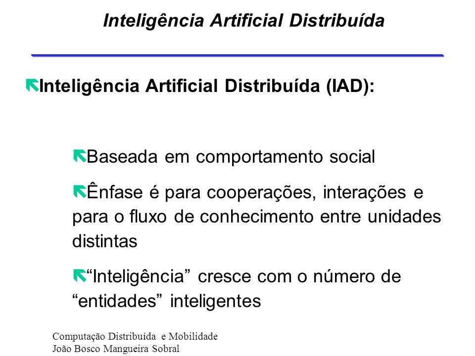 Agentes A idéia é o software passar a ser um assistente ao usuário. Computação Distribuída e Mobilidade João Bosco Mangueira Sobral