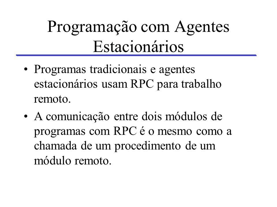 Chamada de Procedimentos Remotos Servidor 1 Servidor 2Servidor 3 Agente Cliente Chamada remota de procedimentos