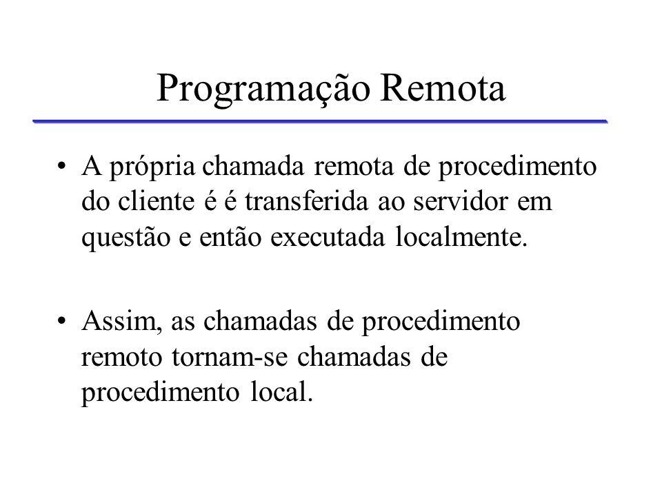Programação Remota Servidor 1 Servidor 2Servidor 3 Agente Cliente Programação Remota Agente