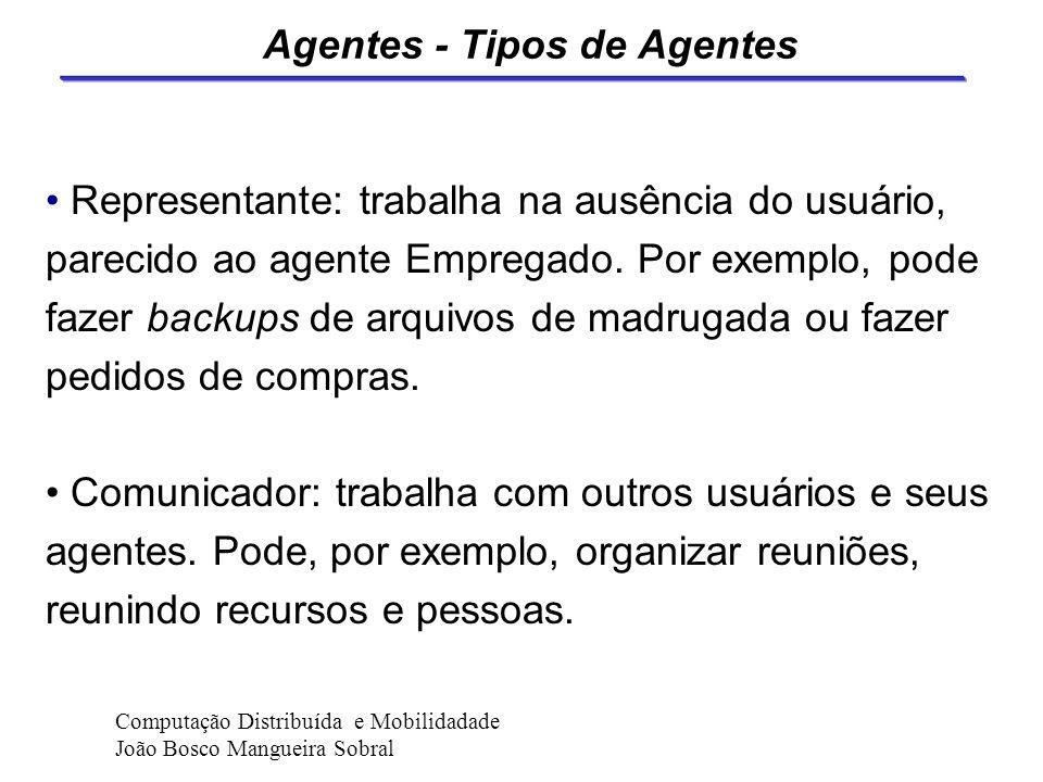Agentes - Tipos de Agentes Conselheiro: oferece ajuda e treinamento Guia: ajuda a navegação em bancos de dados e hipermídia Empregado: executa as ativ