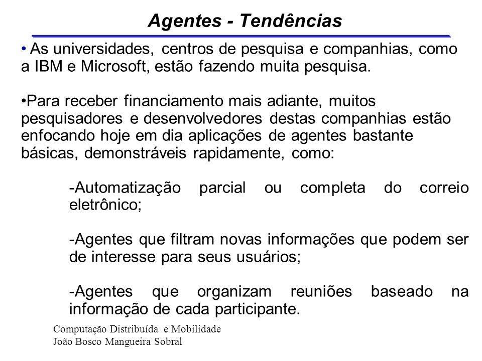 Agentes - Tendências Papel dos agentes no futuro e como eles serão construídos... ? Porque... 1) Anda está em fase de desenvolvimento 2) A maioria dos