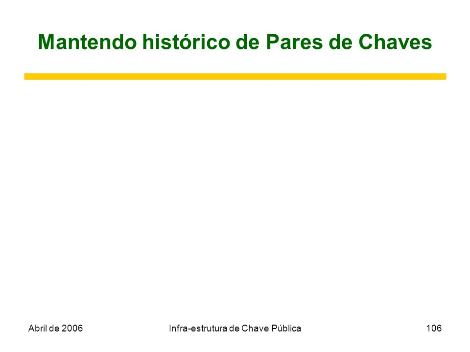 Abril de 2006Infra-estrutura de Chave Pública106 Mantendo histórico de Pares de Chaves