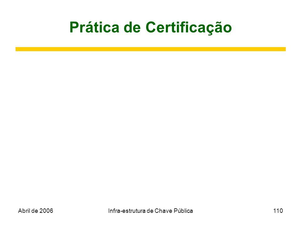 Abril de 2006Infra-estrutura de Chave Pública110 Prática de Certificação