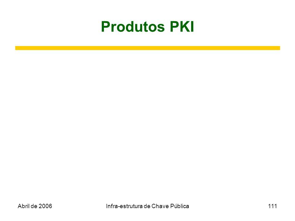 Abril de 2006Infra-estrutura de Chave Pública111 Produtos PKI