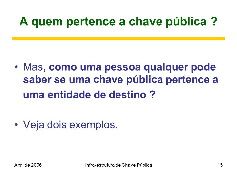 Abril de 2006Infra-estrutura de Chave Pública13 A quem pertence a chave pública ? Mas, como uma pessoa qualquer pode saber se uma chave pública perten