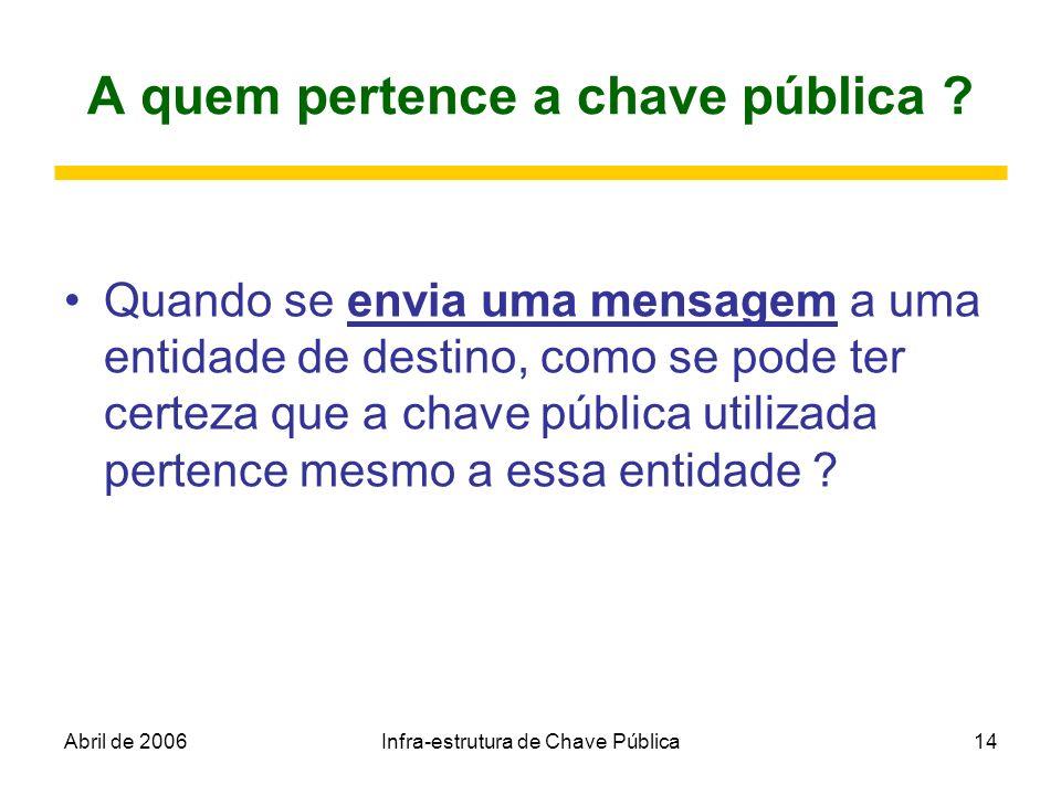 Abril de 2006Infra-estrutura de Chave Pública14 A quem pertence a chave pública ? Quando se envia uma mensagem a uma entidade de destino, como se pode