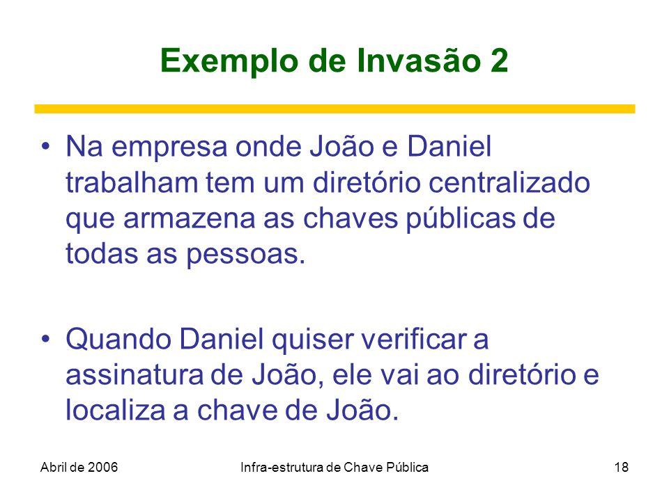 Abril de 2006Infra-estrutura de Chave Pública18 Exemplo de Invasão 2 Na empresa onde João e Daniel trabalham tem um diretório centralizado que armazen