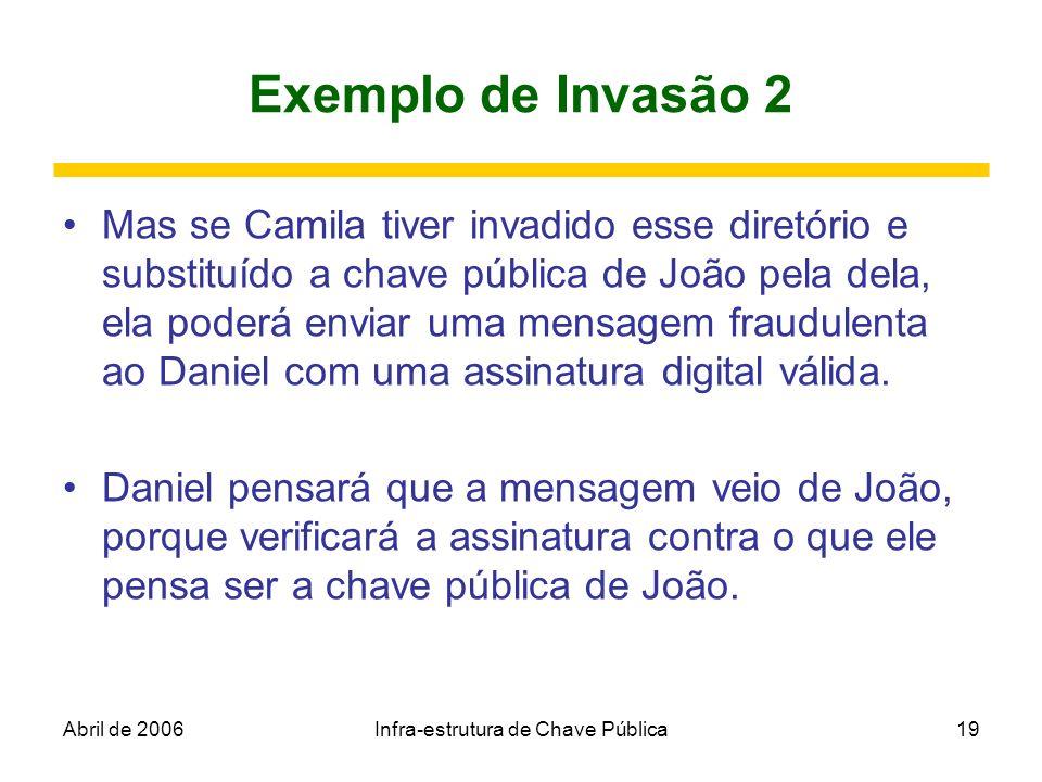 Abril de 2006Infra-estrutura de Chave Pública19 Exemplo de Invasão 2 Mas se Camila tiver invadido esse diretório e substituído a chave pública de João