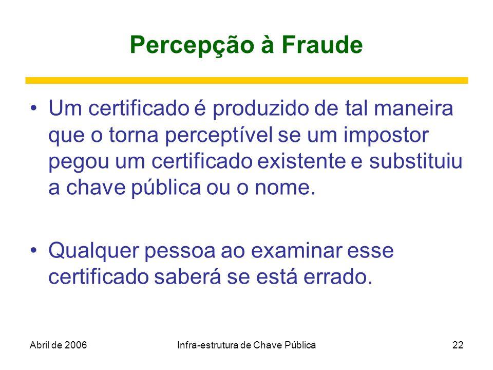 Abril de 2006Infra-estrutura de Chave Pública22 Percepção à Fraude Um certificado é produzido de tal maneira que o torna perceptível se um impostor pe