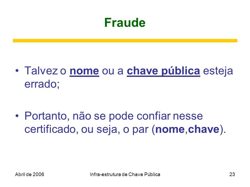 Abril de 2006Infra-estrutura de Chave Pública23 Fraude Talvez o nome ou a chave pública esteja errado; Portanto, não se pode confiar nesse certificado