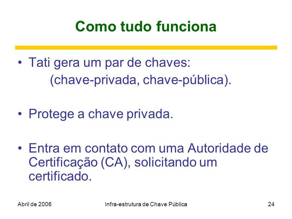 Abril de 2006Infra-estrutura de Chave Pública24 Como tudo funciona Tati gera um par de chaves: (chave-privada, chave-pública). Protege a chave privada