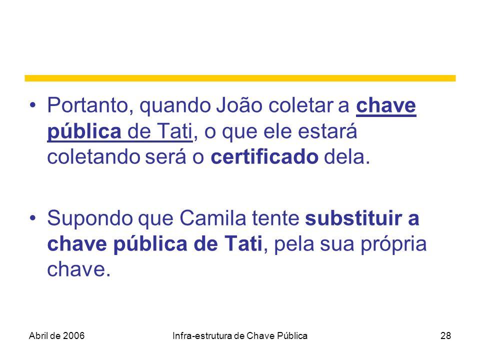 Abril de 2006Infra-estrutura de Chave Pública28 Portanto, quando João coletar a chave pública de Tati, o que ele estará coletando será o certificado d