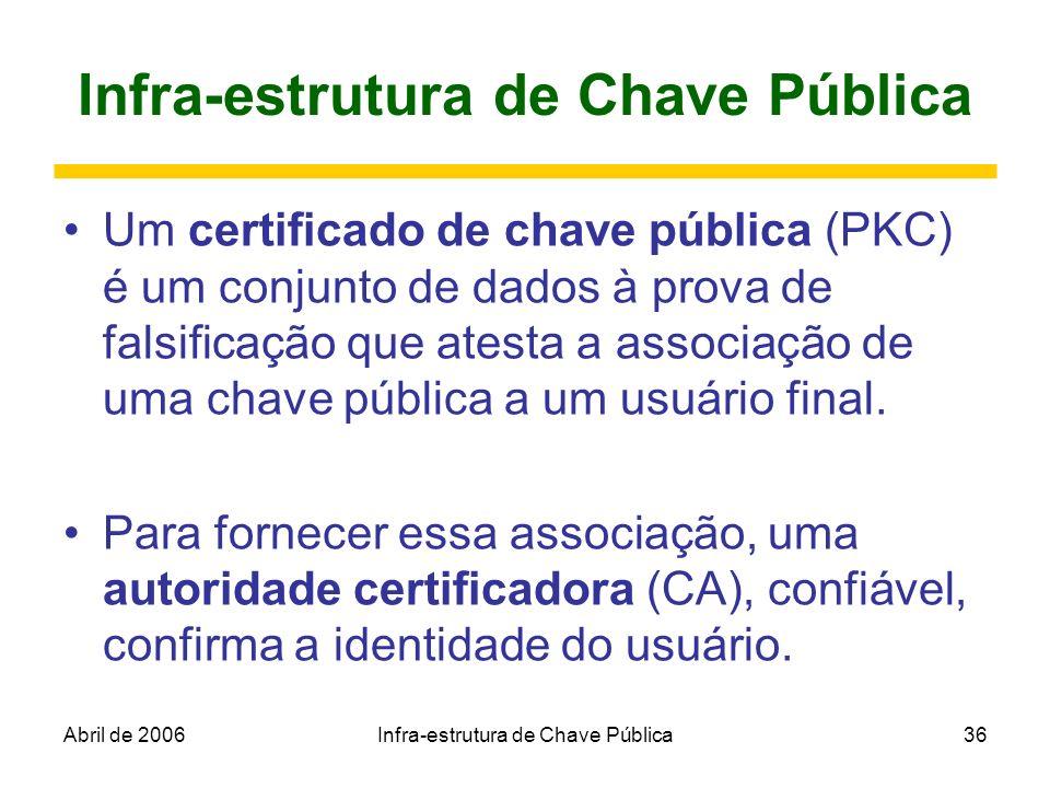 Abril de 2006Infra-estrutura de Chave Pública36 Infra-estrutura de Chave Pública Um certificado de chave pública (PKC) é um conjunto de dados à prova