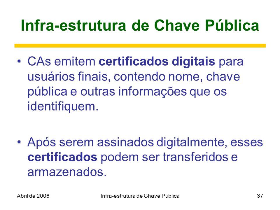Abril de 2006Infra-estrutura de Chave Pública37 Infra-estrutura de Chave Pública CAs emitem certificados digitais para usuários finais, contendo nome,
