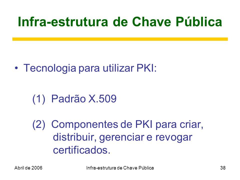 Abril de 2006Infra-estrutura de Chave Pública38 Infra-estrutura de Chave Pública Tecnologia para utilizar PKI: (1) Padrão X.509 (2) Componentes de PKI
