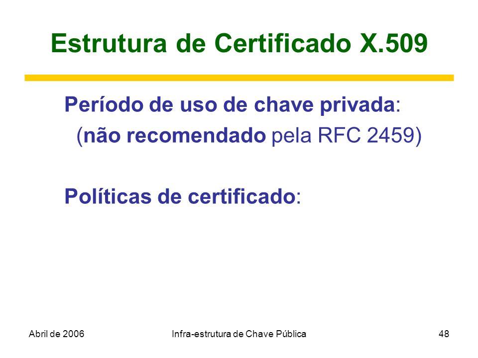 Abril de 2006Infra-estrutura de Chave Pública48 Estrutura de Certificado X.509 Período de uso de chave privada: (não recomendado pela RFC 2459) Políti