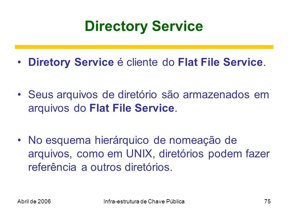 Abril de 2006Infra-estrutura de Chave Pública75 Directory Service Diretory Service é cliente do Flat File Service. Seus arquivos de diretório são arma