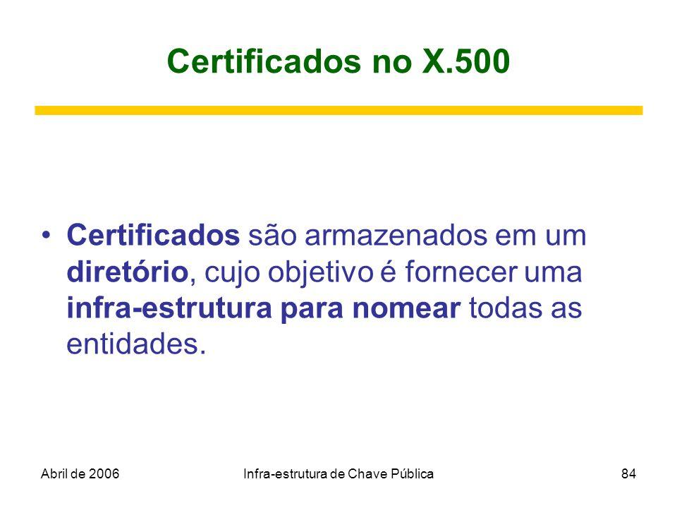 Abril de 2006Infra-estrutura de Chave Pública84 Certificados no X.500 Certificados são armazenados em um diretório, cujo objetivo é fornecer uma infra