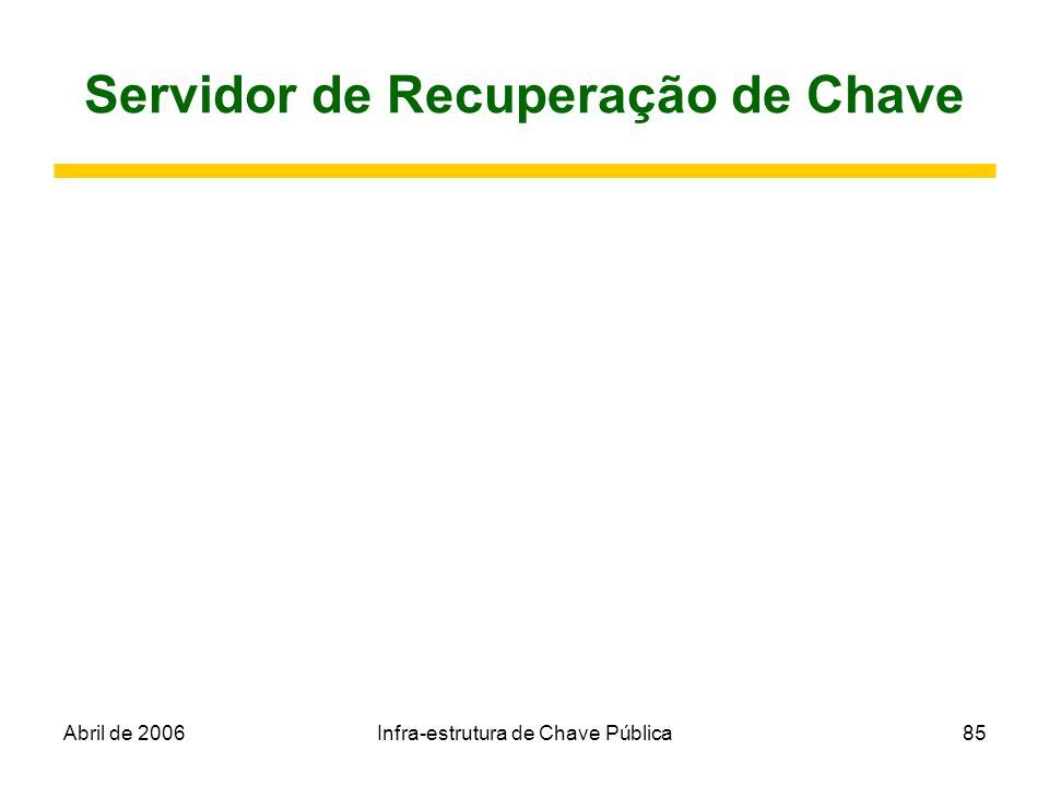 Abril de 2006Infra-estrutura de Chave Pública85 Servidor de Recuperação de Chave
