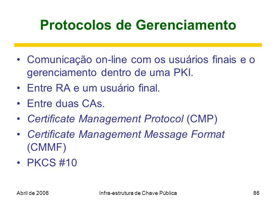 Abril de 2006Infra-estrutura de Chave Pública86 Protocolos de Gerenciamento Comunicação on-line com os usuários finais e o gerenciamento dentro de uma