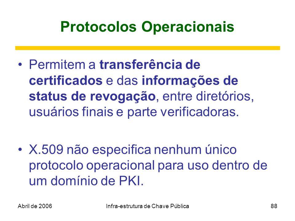 Abril de 2006Infra-estrutura de Chave Pública88 Protocolos Operacionais Permitem a transferência de certificados e das informações de status de revoga