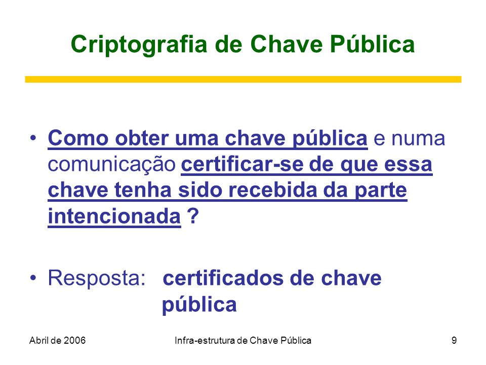 Abril de 2006Infra-estrutura de Chave Pública9 Criptografia de Chave Pública Como obter uma chave pública e numa comunicação certificar-se de que essa