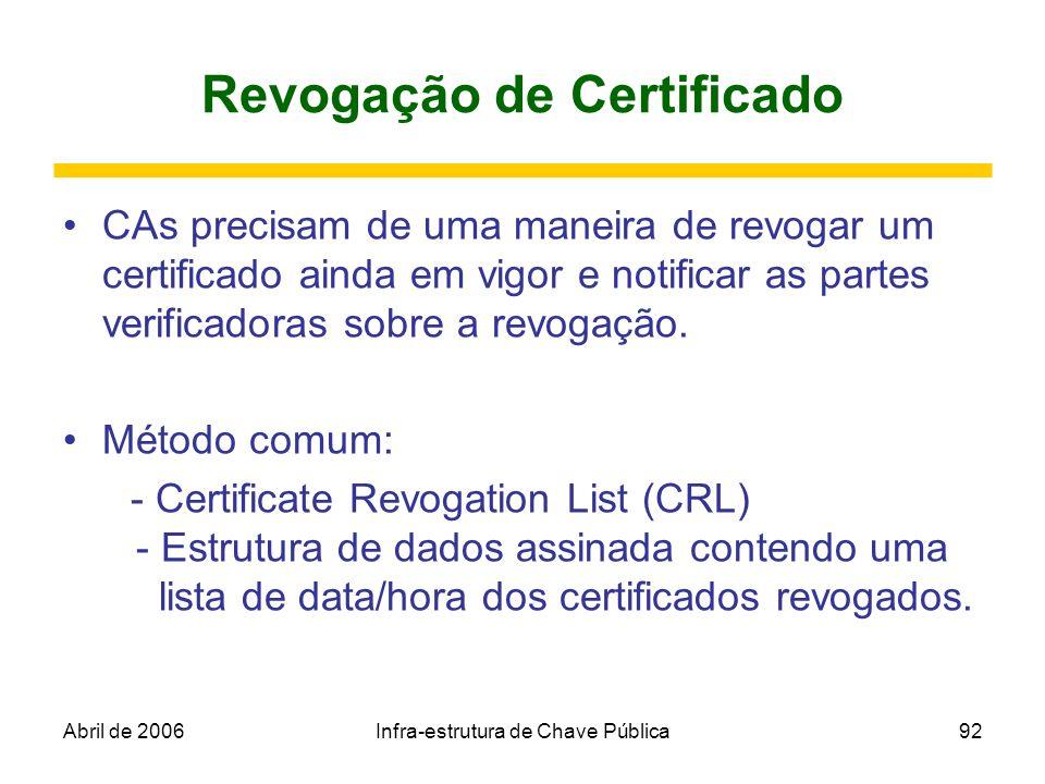 Abril de 2006Infra-estrutura de Chave Pública92 Revogação de Certificado CAs precisam de uma maneira de revogar um certificado ainda em vigor e notifi