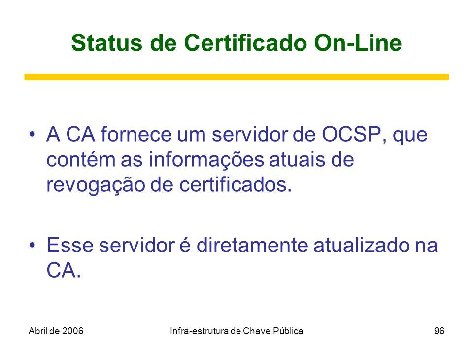 Abril de 2006Infra-estrutura de Chave Pública96 Status de Certificado On-Line A CA fornece um servidor de OCSP, que contém as informações atuais de re