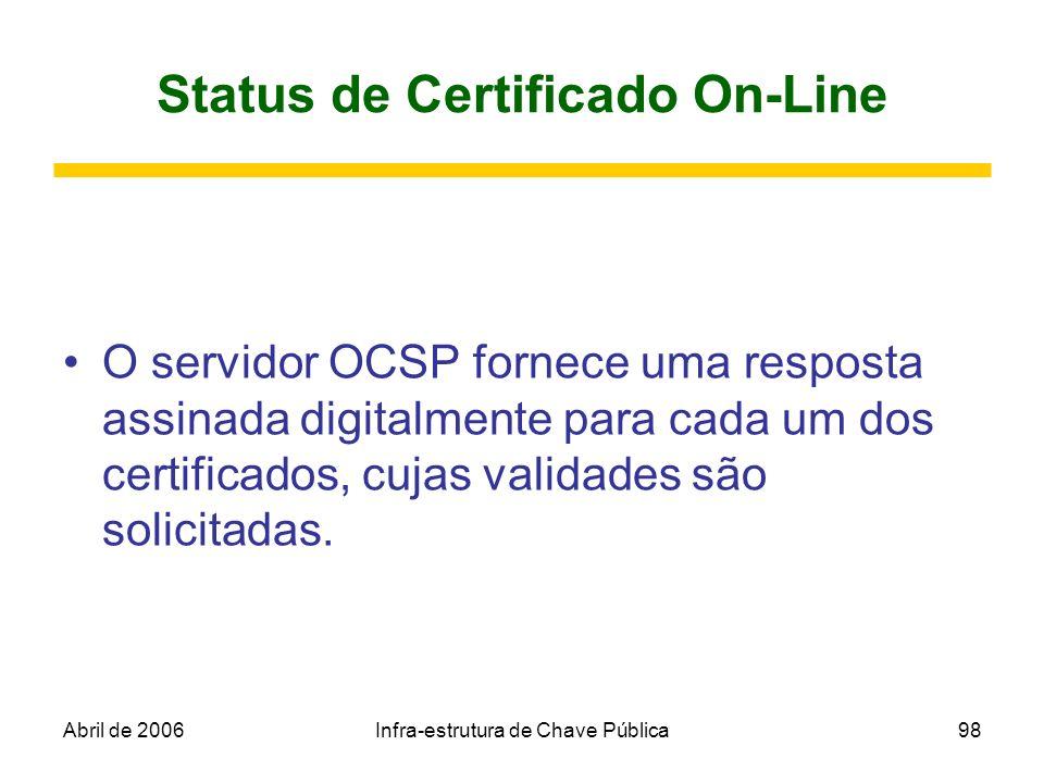 Abril de 2006Infra-estrutura de Chave Pública98 Status de Certificado On-Line O servidor OCSP fornece uma resposta assinada digitalmente para cada um