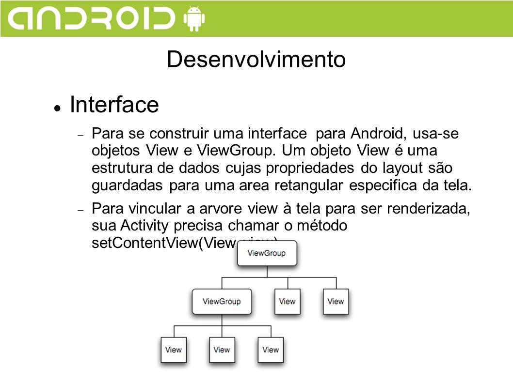 Interface Para se construir uma interface para Android, usa-se objetos View e ViewGroup. Um objeto View é uma estrutura de dados cujas propriedades do