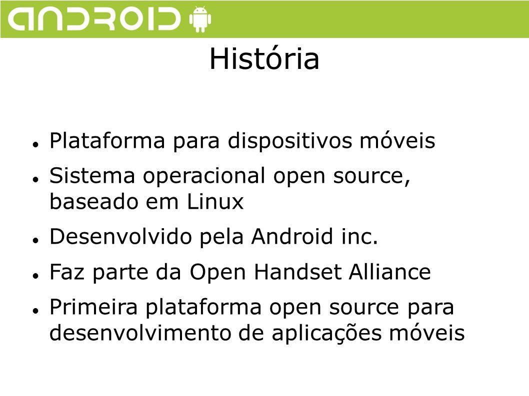 História Plataforma para dispositivos móveis Sistema operacional open source, baseado em Linux Desenvolvido pela Android inc. Faz parte da Open Handse