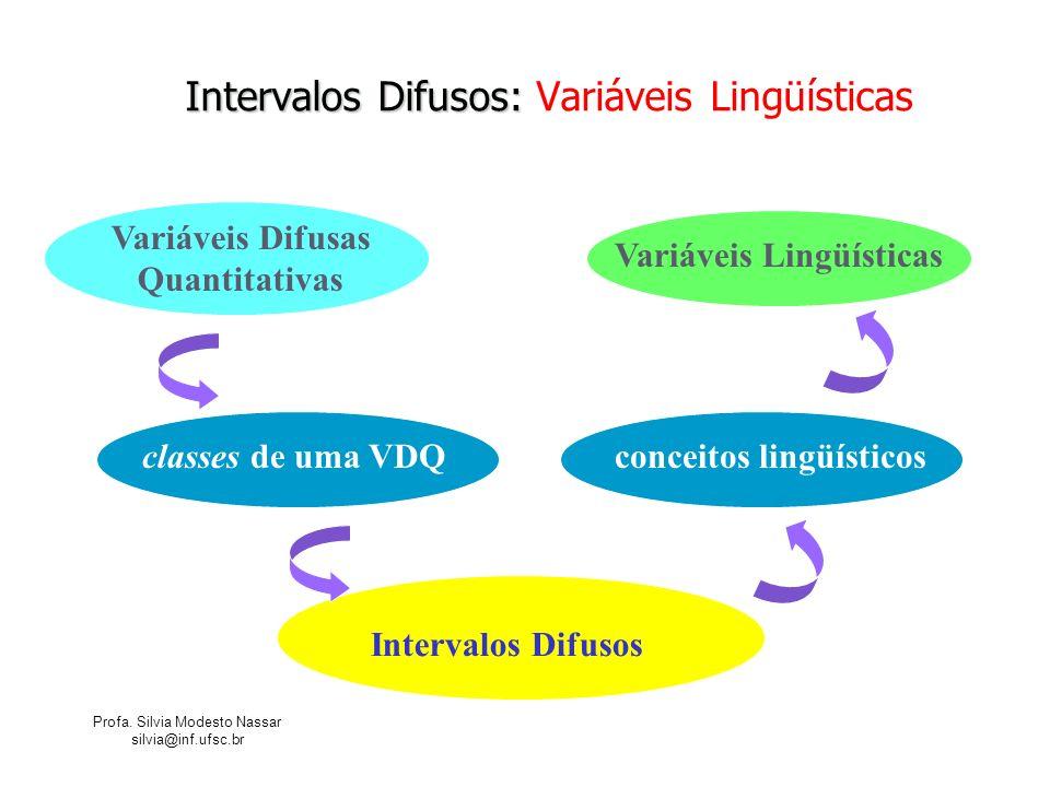 Profa. Silvia Modesto Nassar silvia@inf.ufsc.br Intervalos Difusos: Intervalos Difusos: Variáveis Lingüísticas Variáveis Difusas Quantitativas classes