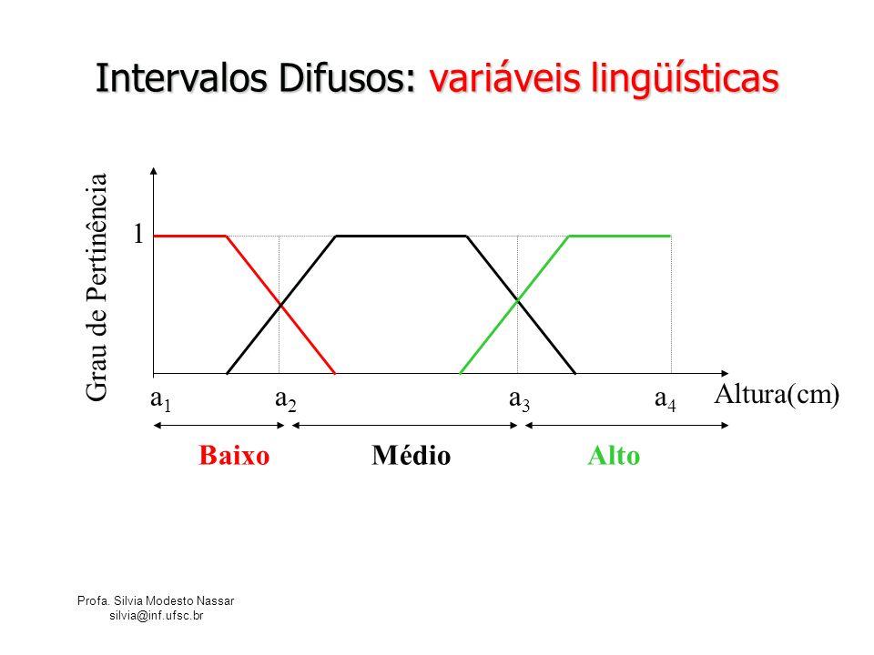 Profa. Silvia Modesto Nassar silvia@inf.ufsc.br Intervalos Difusos: variáveis lingüísticas Baixo Médio Alto Altura(cm) a 1 a 2 a 3 a 4 1 Grau de Perti