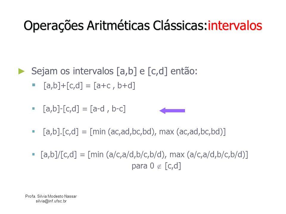 Profa. Silvia Modesto Nassar silvia@inf.ufsc.br Operações Aritméticas Clássicas:intervalos Sejam os intervalos [a,b] e [c,d] então: [a,b]+[c,d] = [a+c