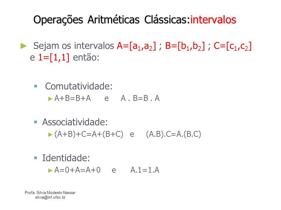 Profa. Silvia Modesto Nassar silvia@inf.ufsc.br Operações Aritméticas Clássicas:intervalos Sejam os intervalos A=[a 1,a 2 ] ; B=[b 1,b 2 ] ; C=[c 1,c