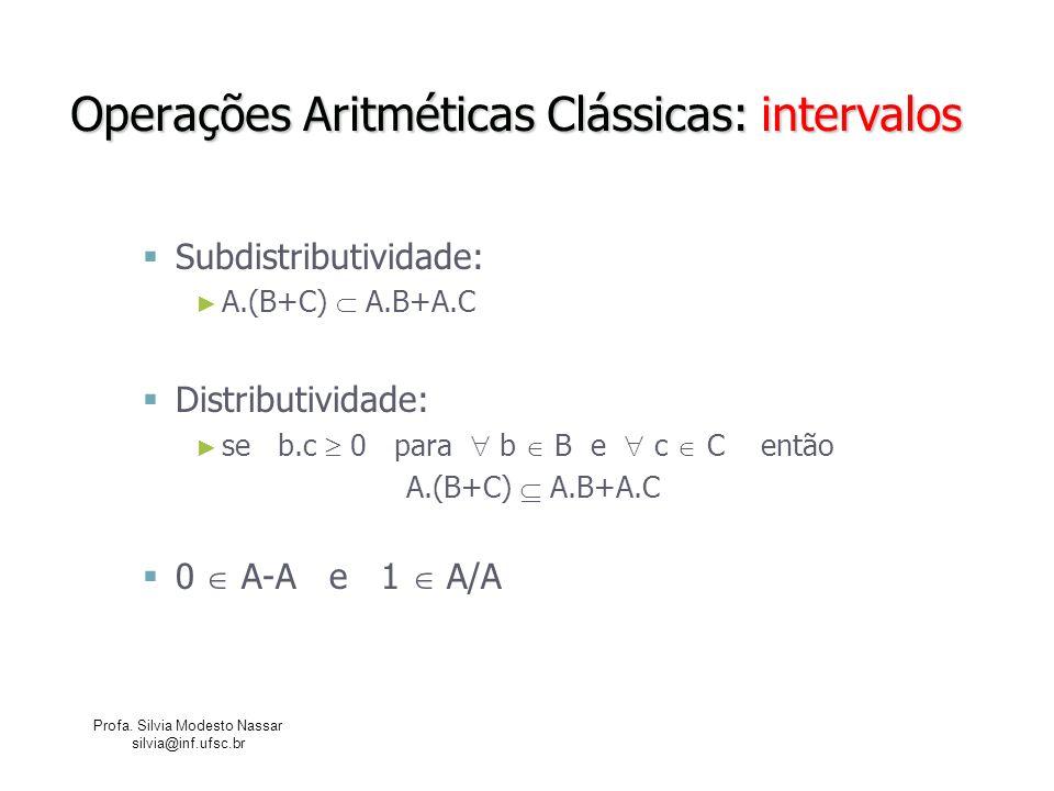 Profa. Silvia Modesto Nassar silvia@inf.ufsc.br Operações Aritméticas Clássicas: intervalos Subdistributividade: A.(B+C) A.B+A.C Distributividade: se