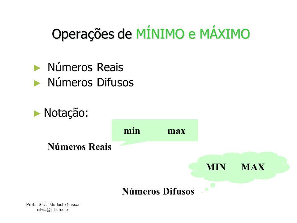 Profa. Silvia Modesto Nassar silvia@inf.ufsc.br Operações de MÍNIMO e MÁXIMO Números Reais Números Difusos Notação: Números Reais Números Difusos min
