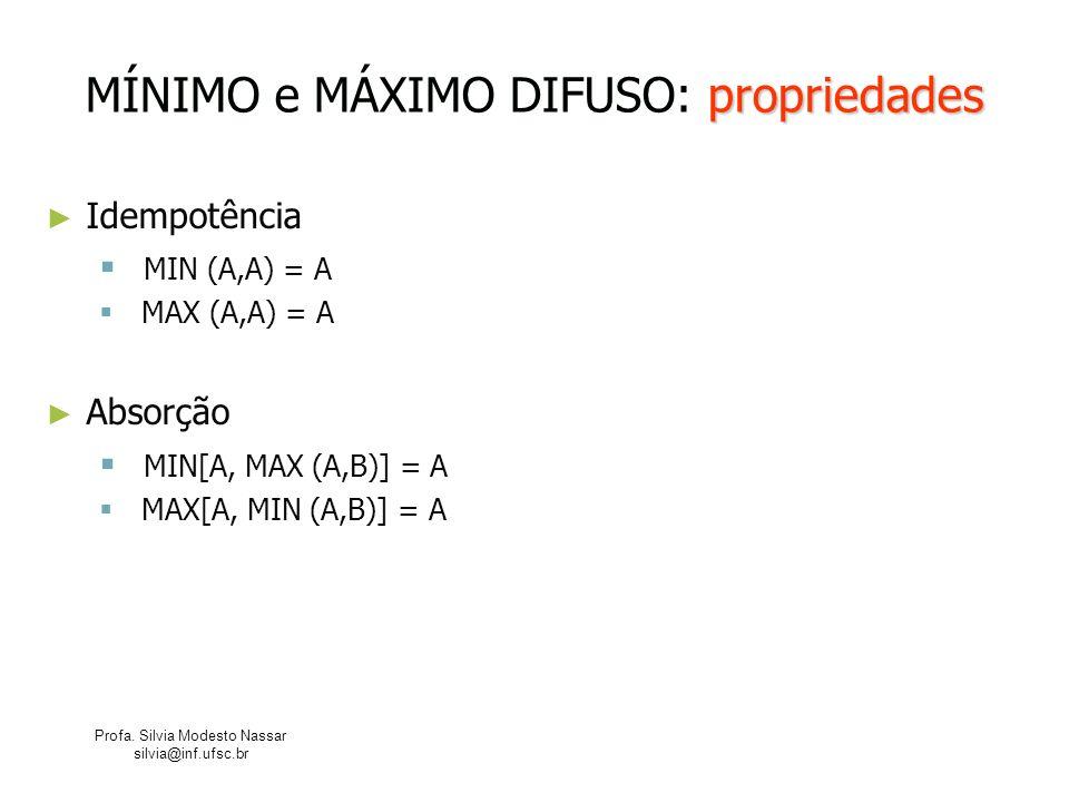 Profa. Silvia Modesto Nassar silvia@inf.ufsc.br propriedades MÍNIMO e MÁXIMO DIFUSO: propriedades Idempotência MIN (A,A) = A MAX (A,A) = A Absorção MI