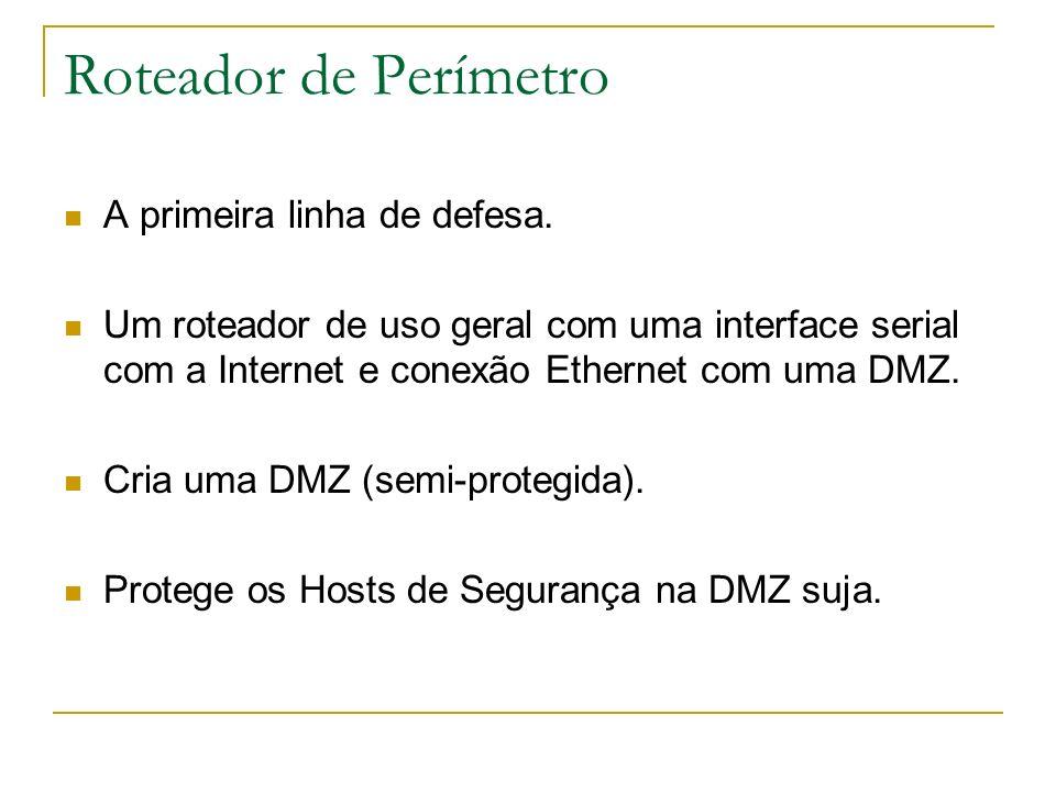 Roteador de Perímetro A primeira linha de defesa. Um roteador de uso geral com uma interface serial com a Internet e conexão Ethernet com uma DMZ. Cri