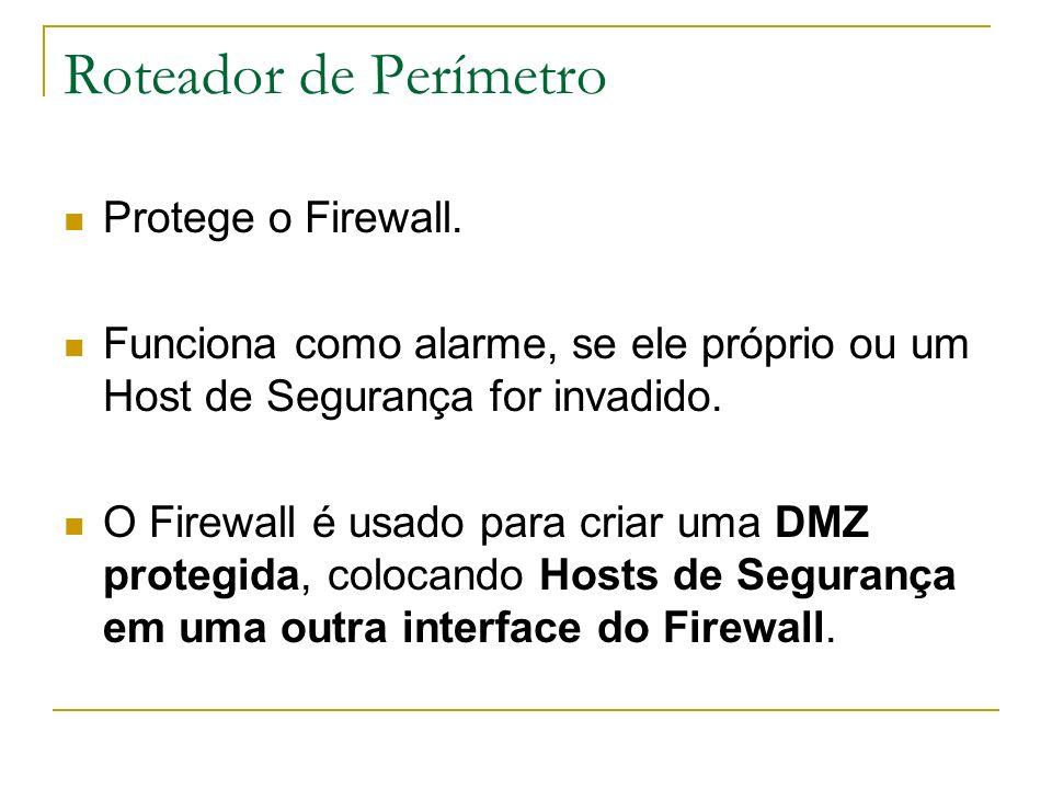 Roteador de Perímetro Protege o Firewall. Funciona como alarme, se ele próprio ou um Host de Segurança for invadido. O Firewall é usado para criar uma