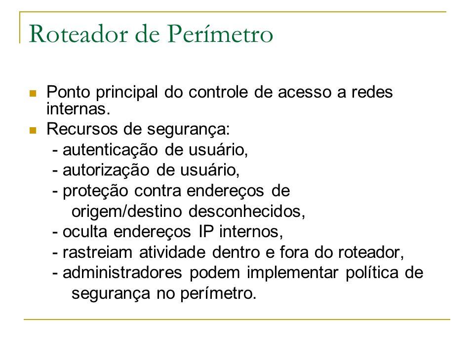 Roteador de Perímetro Ponto principal do controle de acesso a redes internas. Recursos de segurança: - autenticação de usuário, - autorização de usuár