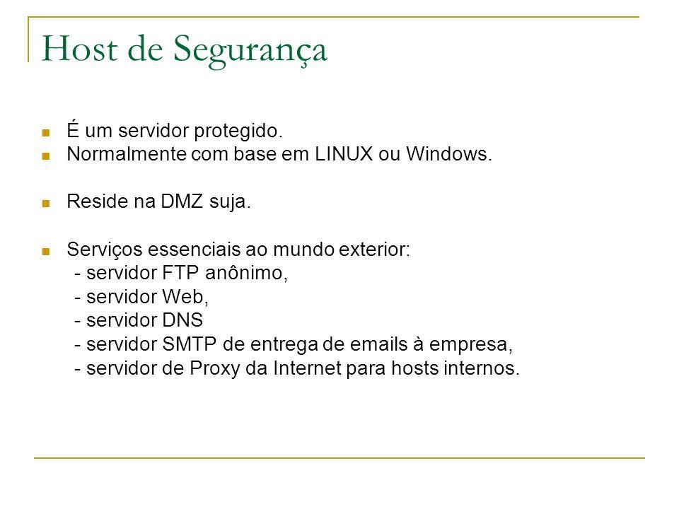 Host de Segurança É um servidor protegido. Normalmente com base em LINUX ou Windows. Reside na DMZ suja. Serviços essenciais ao mundo exterior: - serv