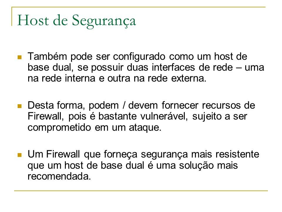 Host de Segurança Também pode ser configurado como um host de base dual, se possuir duas interfaces de rede – uma na rede interna e outra na rede exte