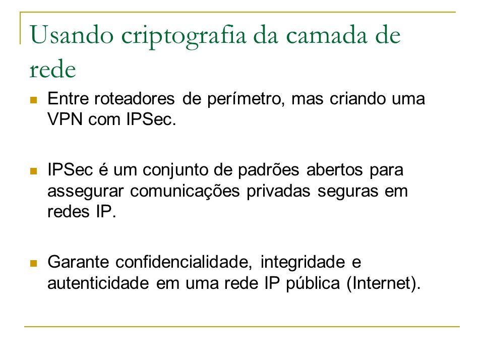 Usando criptografia da camada de rede Entre roteadores de perímetro, mas criando uma VPN com IPSec. IPSec é um conjunto de padrões abertos para assegu