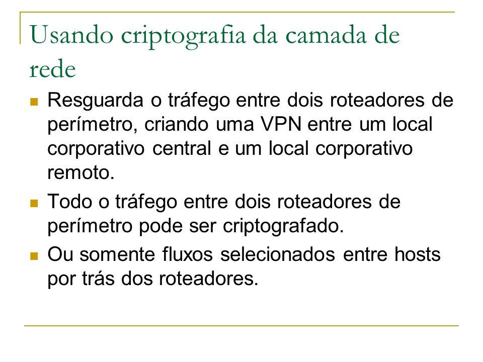 Usando criptografia da camada de rede Resguarda o tráfego entre dois roteadores de perímetro, criando uma VPN entre um local corporativo central e um