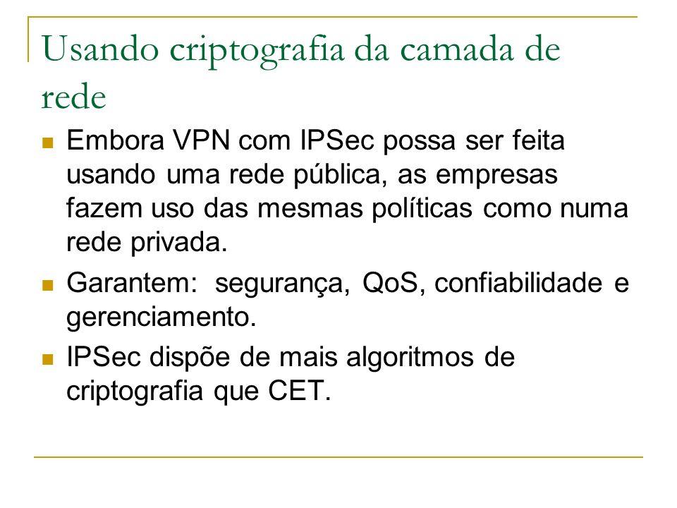 Usando criptografia da camada de rede Embora VPN com IPSec possa ser feita usando uma rede pública, as empresas fazem uso das mesmas políticas como nu
