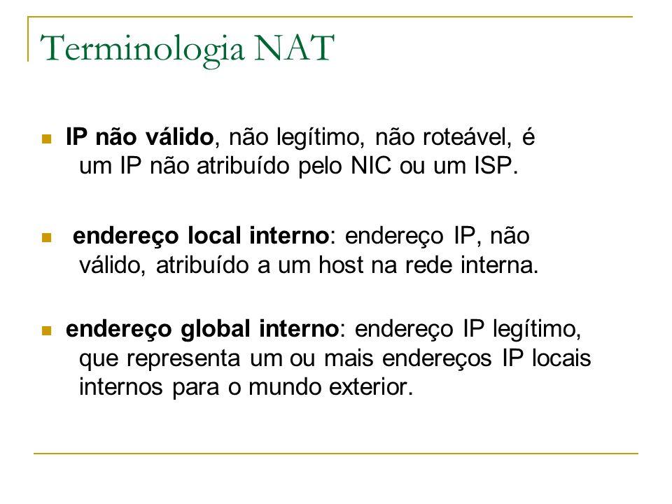 Terminologia NAT IP não válido, não legítimo, não roteável, é um IP não atribuído pelo NIC ou um ISP. endereço local interno: endereço IP, não válido,