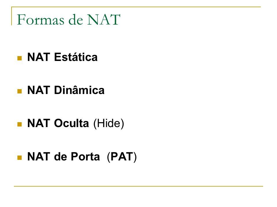 Formas de NAT NAT Estática NAT Dinâmica NAT Oculta (Hide) NAT de Porta (PAT)