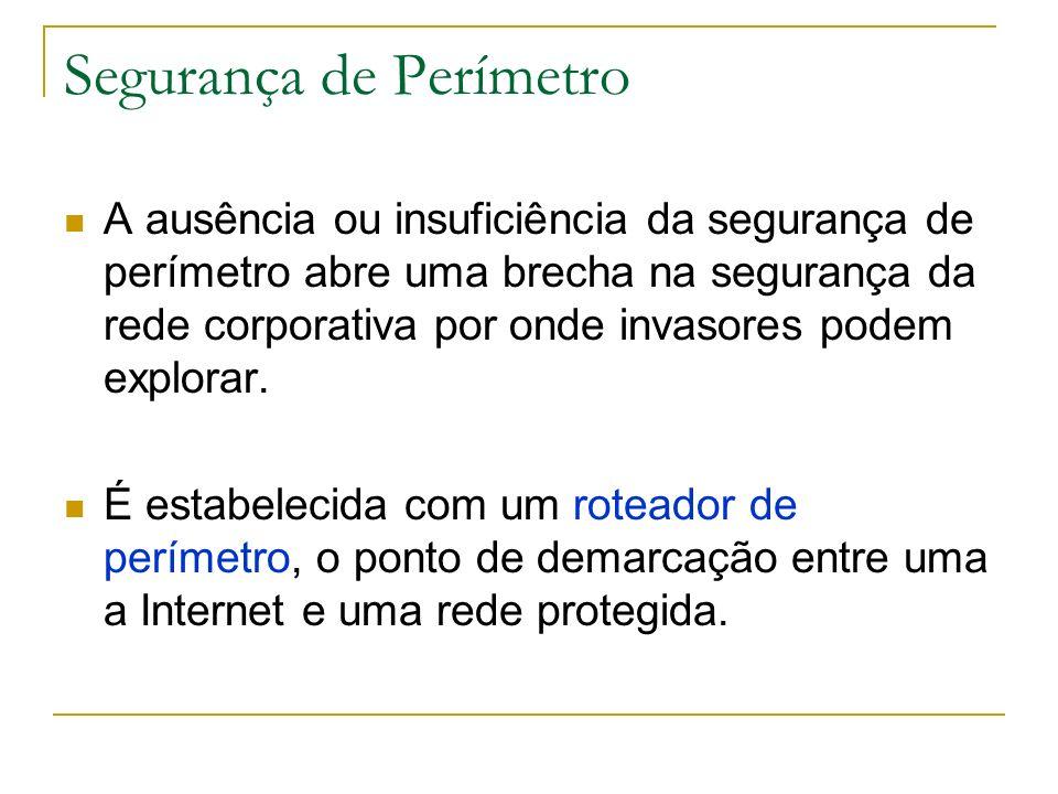Segurança de Perímetro Uma parte importante é identificar: - o domínio interno (rede corporativa abaixo do Firewall); - o domínio intermediário - o domínio externo (Internet ou um enlace com um fornecedor ou parceiro comercial).