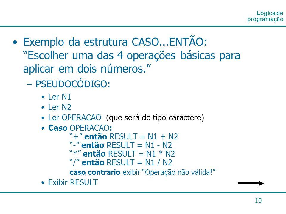 10 Exemplo da estrutura CASO...ENTÃO: Escolher uma das 4 operações básicas para aplicar em dois números. –PSEUDOCÓDIGO: Ler N1 Ler N2 Ler OPERACAO (qu